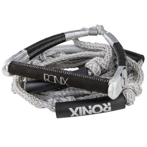 "Ronix PU Synthetic Bungee Surf Rope-10"" Handle w/25ft 4-Sect. Rope - Silver-0"