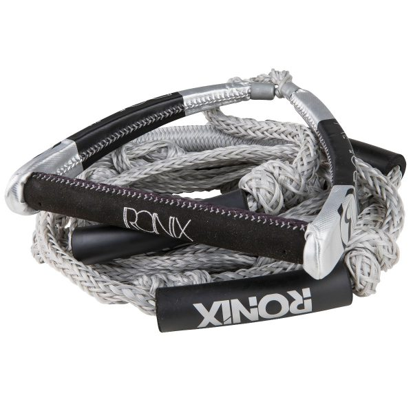 """Ronix PU Synthetic Bungee Surf Rope-10"""" Handle w/25ft 4-Sect. Rope - Silver-0"""