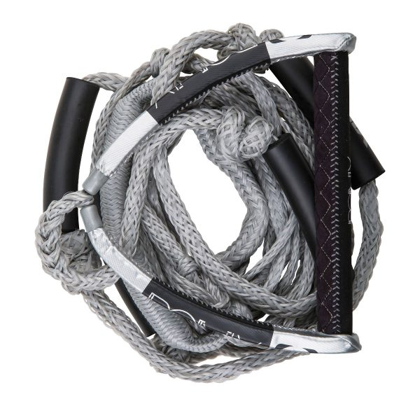 """Ronix PU Synthetic Bungee Surf Rope-10"""" Handle w/25ft 4-Sect. Rope - Silver-5539"""